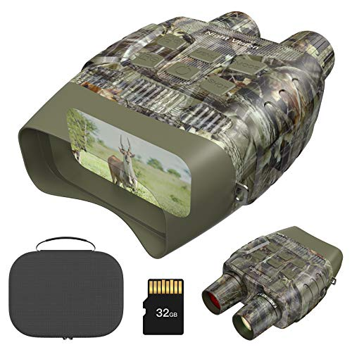 """Digital Night Vision Binoculars for Complete Darkness - Take Photos & Videos - Camouflage Infrared Goggles for Spotting & Surveillance - 3"""" Large Screen & 984 ft Viewing Range – 32 GB Card Included"""