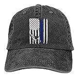 Thin Blue Line American Flag Hombres Gorra de béisbol de tela de mezclilla ajustable para mujer Gorra de camionero