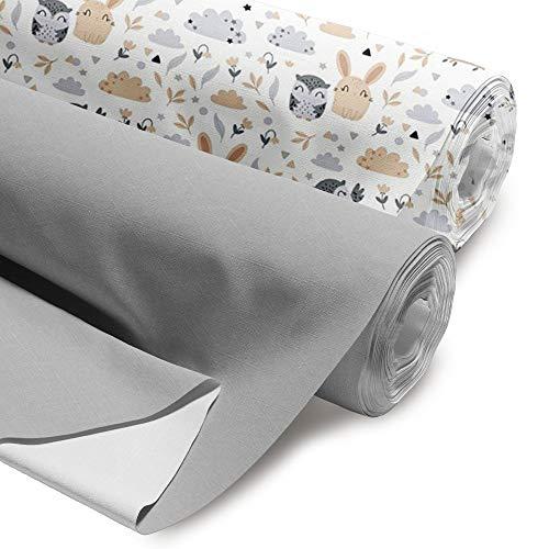 Lot de 2tissus en coton, vendus au mètre, 100 x 160cm, certifiés Öko-Tex Standard 100, pour la couture