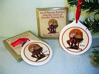 Norman Rockwell , Santa At the Globe Porcelain Christmas Ornament