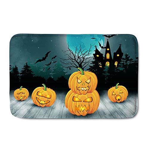 FUPOA Happy Halloween Felpudo Decoración para el hogar Antideslizante Calabaza Linterna Imprimir Pasillo Puerta Alfombra Lavable Baño Alfombrilla, CC5505CN, 40CMX60CM