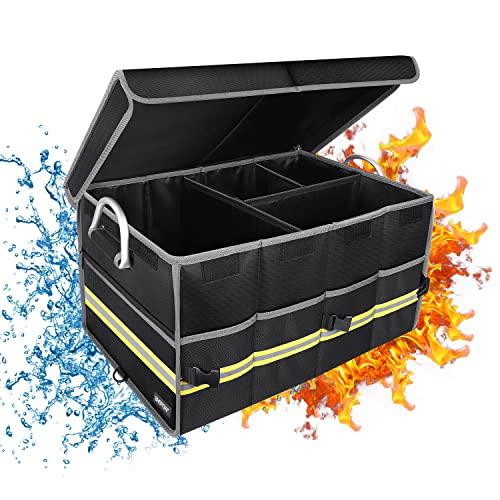 Kofferraumtasche Feuerfeste Kofferraum Organizer Auto Aufbewahrung Wasserdichter,Zusammenklappbarer Kofferraum-Organizer mit Deckel Grosse Kapazität Aufbewahrungsbox Rutschfester Autotasche Zubehör