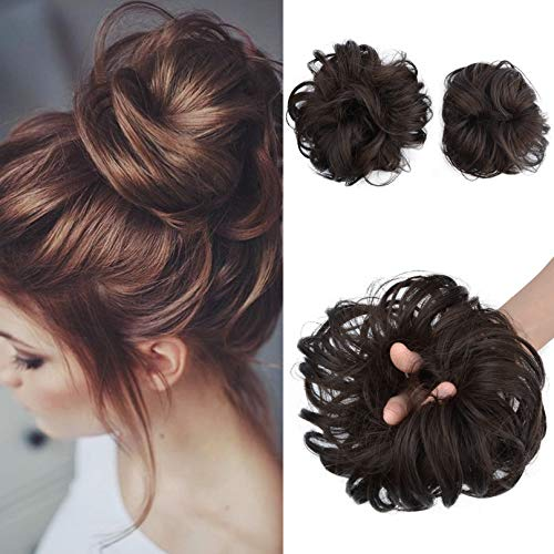 SEIKEA 2PCS Messy Bun Hair Piece Tousled Updo Hair Extension With Elastic Rubber Band Hairpiece Synthetic Hair Scrunchies Hair Piece for Women Girls Color Dark Brown