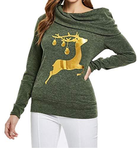 DOKER Kerstmis Tops Vrouwen Lange Mouw Herten Print Coltrui Trui Sweatshirt Slim Fit