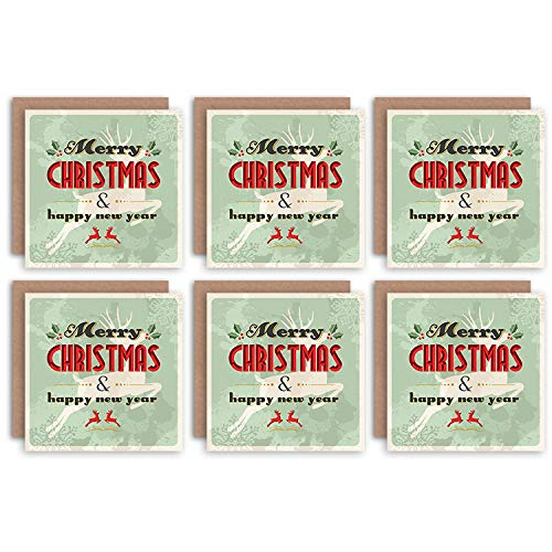 Wee Blue Coo Christmas Cards x6 Vintage Merry Christmas New Year Reindeer Set Ancien