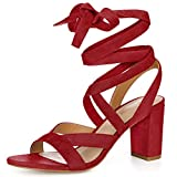 Allegra K Women's Lace up Chunky Heel Red Sandals - 8.5 M US