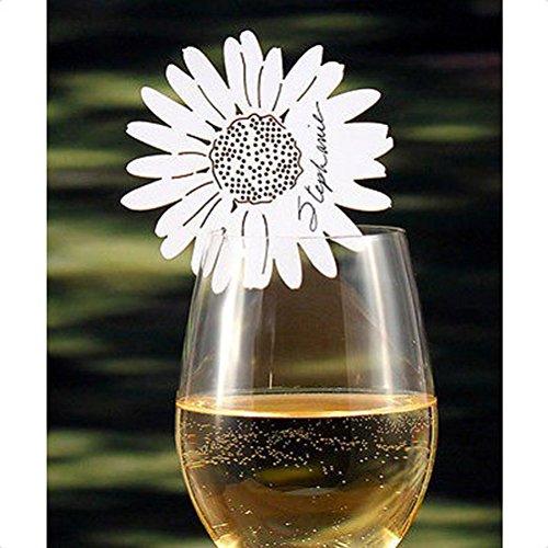 ULTNICE Segnaposti Matrimonio in Carta a Forma di Margherita Bianca Cartolina per Bicchiere (50pcs)