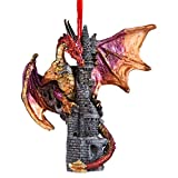 Christmas Tree Ornaments - Zanzibar the Gothic Dragon on Castle Holiday Ornament - Dragon Statue