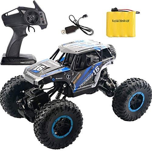 ZHWDD De Alta Velocidad de RC Truck, 4WD 2.4G Escalada Todoterreno 1/14 RC de vehículos, Carga USB 2.4G RC Buggy, Navidad Niños Control Remoto de Coches de Juguete de Regalo (Color: Azul) hefeide
