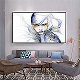 QWESFX Pintura artística Abstracta Chica Pinturas de Gatos en Lienzo Pinturas Set Lienzo estirado para Pinturas para dormitorios (Imprimir sin Marco) A5 60x120CM