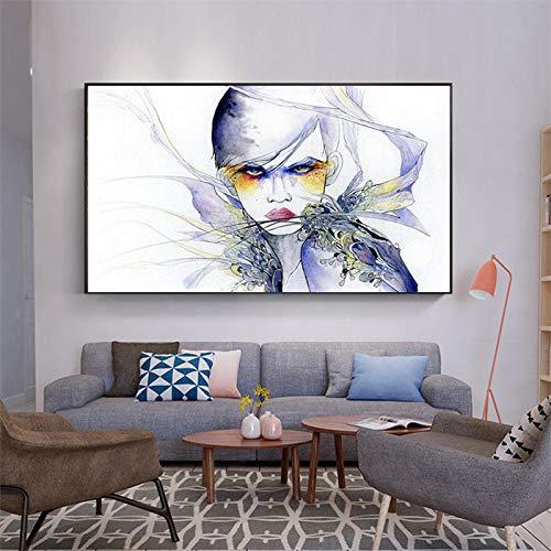 QWESFX Künstlerische abstrakte Mädchenmalerei Katzenbilder auf Leinwand Gemälde Set gestreckte Leinwand für Gemälde für Schlafzimmer (Druck ohne Rahmen) A1 35x70CM