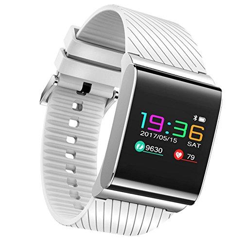 JTWJ Pantalla a Color Pulsera Inteligente Nuevo Suministro de Amazon 0,96 pulsación frecuencia cardíaca monitorización de la presión Arterial Deportes Bluetooth (Color : Blanco)