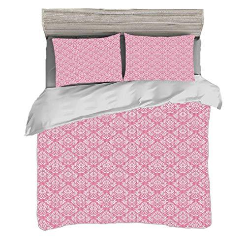 Juego de funda nórdica (200 x 200 cm) con 2 fundas de almohada Rosa claro Ropa de cama con impresión digital Estilo victoriano clásico Damasco Barroco Moda Rococó Renacimiento Patrón, rosa bebé blanco