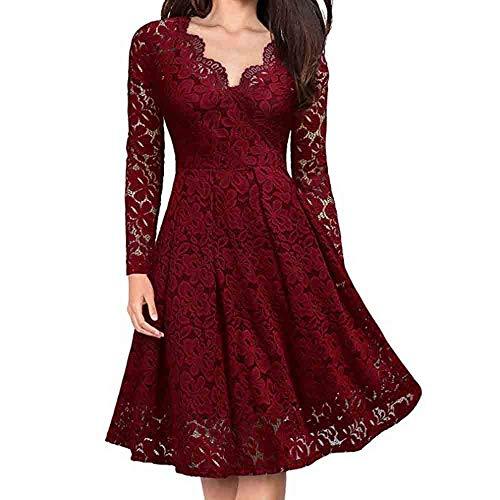 Lulupi Damen V-Ausschnitt Elegant Kleider Spitzenkleid Langarm/Kurzarm Cocktailkleid Knielang Rockabilly Kleid Floral