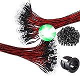 GTIWUNG 100Pcs Luces LED de Diodo Verde 12V DC Pre Wired LED Diodos Emisores de Luz Lámpara, Perlas de lámpara Transparentes + 100Pcs 5mm Plástico Soporte de LED Clip Montaje