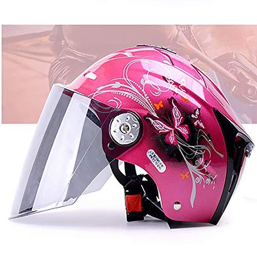 LALEO Schmetterling Muster Einstellbar Offenes Motorradhelm, Jet-Helm mit Visier, Roller-Helm, Damen und Herren ECE Genehmigt, Mattschwarz, Schwarz, Pink (54-61cm),pink