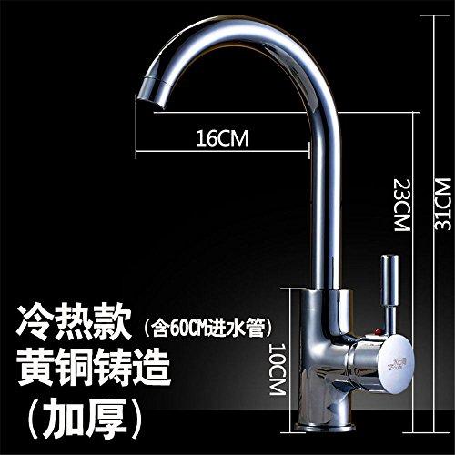 QIMEIM - Grifo mezclador para lavabo, lavabo, agua fría y caliente, latón, acero inoxidable, giratorio para agua fría