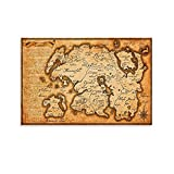 Póster del mapa del mundo de Skyrim de The Elder Scrolls - Cuadro moderno para dormitorio familiar de pared de 30 x 45 cm