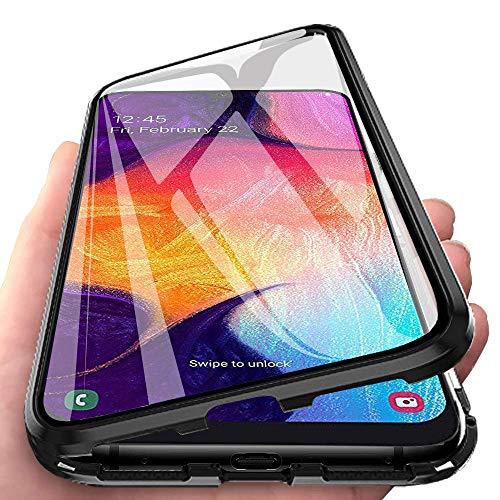 Finemoco Hülle für Xiaomi Mi A2 Magnetische Adsorption Handyhülle Metallrahmen Schutzhülle,360 Grad Vorne und Hinten 9H Tempered Glas Transparente Schutz Cover für Xiaomi Mi A2,Schwarz