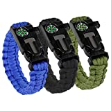 Savage Survival Supply 3 Pack Paracord Bracelet - Multi Purpose/5+ Functions Military-Grade Paracord Bracelet w/Compass, Magnesium Flint Fire Starter, Emergency Knife, Distress Whistle.
