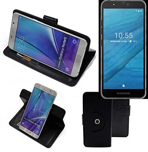 K-S-Trade® Handy Hülle Für Fairphone Fairphone 3 Flipcase Smartphone Cover Handy Schutz Bookstyle Schwarz (1x)