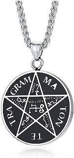 Stainless Steel Pentacle of Solomon tetragrammaton Solomon Pentagram Necklace,Solomon Talisman Pentacle pendant Necklace,24