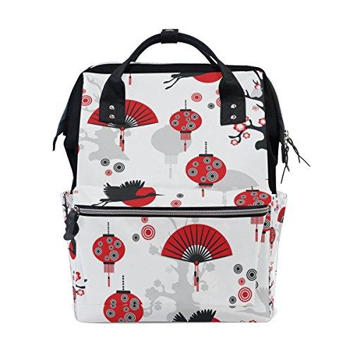 tizorax Chinesische Crane Laterne Fan Windel Rucksack Große Kapazität Baby-Bag Multifunktions-Wickeltaschen Mom Rucksack Reisen für Baby Care