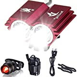 Galwad  5000/Lm U2 XML 2 CREE LED Mountain Cycle lights Front Bike lights Bicycle Light Headlamp Torch Headlight Rechargable Head Lights Flashlight with 2x18650 Waterproof Battery Pack Rear Light