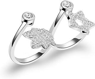خاتم إصبع معدني 2 خاتم للنساء زهرة الهمس زهرة زهرة الزفاف خواتم وعد الخطبة وحلقة التفاف قابل للتعديل