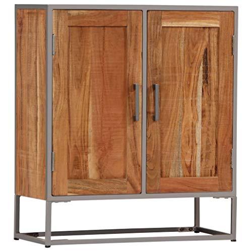Tidyard Aparadores Vintage Aparador Cocina Aparador De Madera de Acacia Maciza y Hierro 65 X 30 X 75 Cm con 2 Puertas