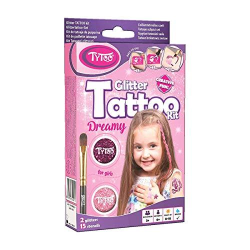 Tytoo Glitzertattoo Set für Mädchen mit 15 Schablonen- hypoallergen und hält bis zu 18 Tage - 100{a0b61055e9a01dc73d8ecc6771420e3347d88401a49b3d98bb81aa5df46eef70} Geld-zurück-Garantie