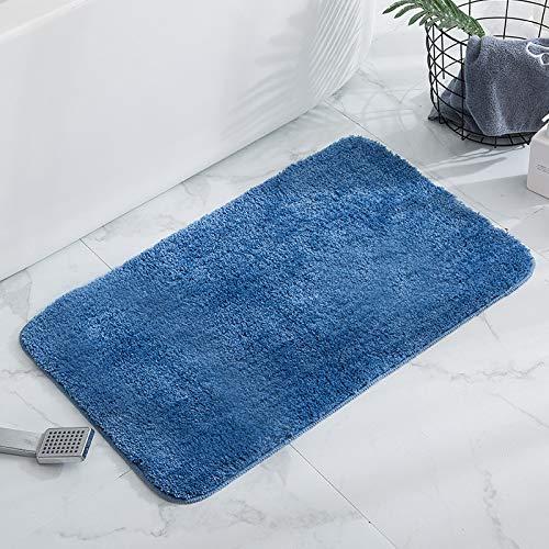KELOFO Tappeto da bagno antiscivolo a pelo lungo antiscivolo antiscivolo lavabile in lavatrice, 50 x 80 cm, grigio