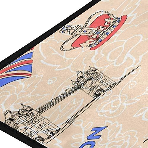 Gran felpudo de Inglaterra Londres, Big Ben, felpudos antideslizantes para interiores, absorbentes, alfombrillas para puerta exterior, alfombrillas lavables para cocina, dormitorio, 99 cm x 51 cm