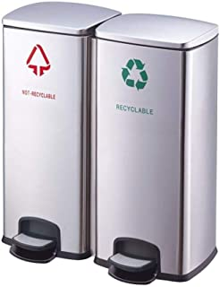 LONGren Dual Trash Can, Step Rubbish Bin, Stainless Steel Double Compartment Classified Recycle Garbage Pedal Dustbin, Sui...