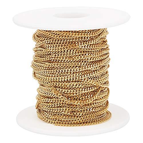 PandaHall roestvrij stalen stoeprand kettingen ongelast voor sieraden maken goud