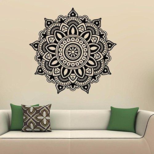 wandaufkleber wandtattoos Ronamick Mandala Flower Indische Schlafzimmer Wandtattoo Kunst Aufkleber Wand Home Vinyl Familie Wandtattoo Wandaufkleber Sticker Wanddeko (Schwarz)