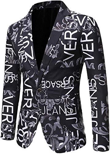 SSSQUN Mens Casual One Button Slim Fit Sport Letters Print Blazer Jackets