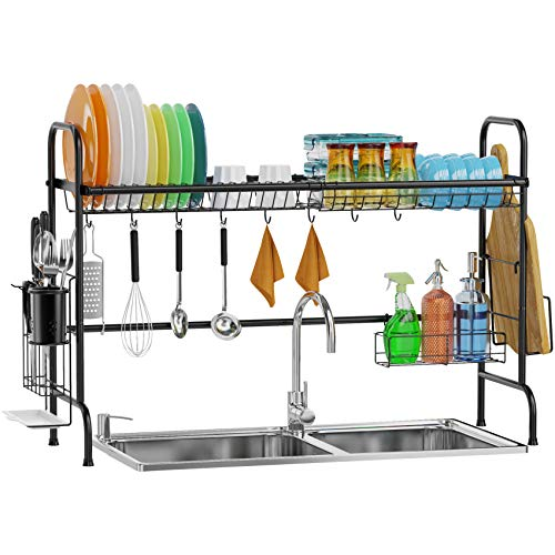 Over Sink Dish Drying Rack, GSlife Stainless Steel Dish Rack Over Sink Shelf, Sturdy Rustproof Above Sink Dish Drainer for Kitchen Counter, Black