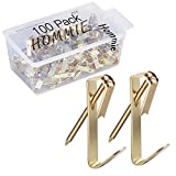 Hommie 100 Pcs Heavy Duty 30lbs Picture Hangers with Nails Photo Picture Frame Hooks Professional Picture...