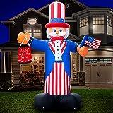 Holidayana Uncle Sam aufblasbarer Unabhängigkeitstag 4. Juli Aufblasbare Outdoor-Dekoration Onkel Sam Hof, helle Innenbeleuchtung, eingebauter Ventilator, inklusive Heringen & Seil