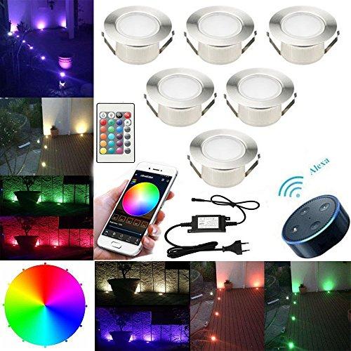 SUBOSI FVTLED 6er Set Ø61mm Led Bodenstrahler Bodeneinbauleuchten Boden Licht IP67 DC12V Wasserdicht Einbauleuchten Außen Terrasse Küche Garten Lampe (WLAN-RGB, 6er-Set)