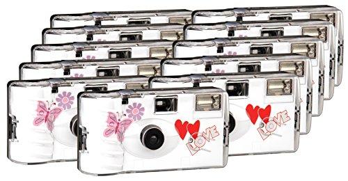 TopShot Love Hearts red Einwegkamera / Hochzeitskamera (27 Fotos, Blitz, 9+2 Pack)