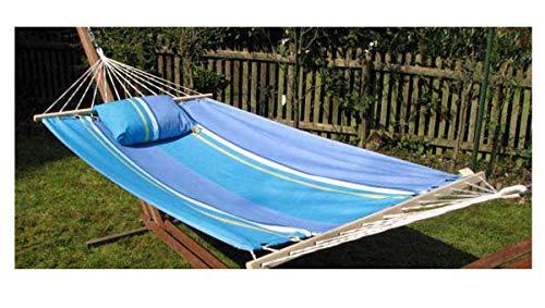export sal hangmat Ocean blauw lengte 340 cm van katoen met spreidstok zonder frame