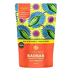 "BENEFITS: baobab is the fruit from Africa's ""Tree of Life"", it is a rich source of vitamin C, supporting immune health, energy release and healthy, glowing skin. Aduna Baobab is also almost 50% prebiotic fibre supporting gut health PREMIUM QUALITY: w..."