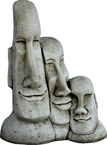 Estatua Cabezas DE Pascua Moai DE Piedra para Jardin O Exterior 56cm.