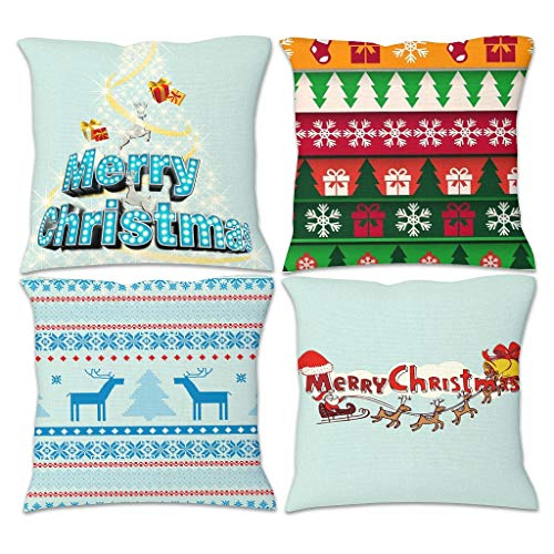 YCNJJB 4pcs Pillow Cover Merry Christmas Decorative Pillow Covers Decorative -Christmas Pillow Case Covers with Hidden Zipper for Sofa White 18x18inch