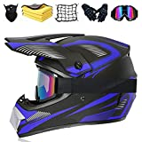 JYYT Casco Motocross Niño, profesional Cascos de Cross de Moto Set con Gafas/Máscara/Guantes/Red Para Casco/Toalla, para MTB Casco ATV de Descenso (C,S (55-56CM))