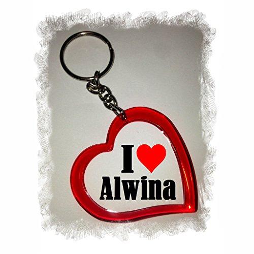 """EXCLUSIVO: Llavero del corazón """"I Love Alwina"""" , una gran idea para un regalo para su pareja, familiares y muchos más! - socios remolques, encantos encantos mochila, bolso, encantos del amor, te, amigos, amantes del amor, accesorio, Amo, Made in Germany."""