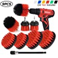 Sheildpro Drill Brush Attachment Set,Power Cleaning Scrub Brush,All Purpose Drill Brushes With Extend Long Attachment For Bathroom And Kitchen Surface,Grout,Tub,Shower,Tile,Corners, Automotive-Red