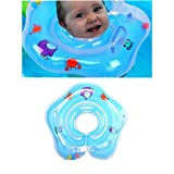 LQLQ Baby Inflatable Inflatable Swimming Ring - Plum-Shaped Swimming Protector, Neck Float Ring Neck Collar Inflatable Tube (Suitable for Babies Around 1 Year Old) (Thickening Upgrade (Blue))
